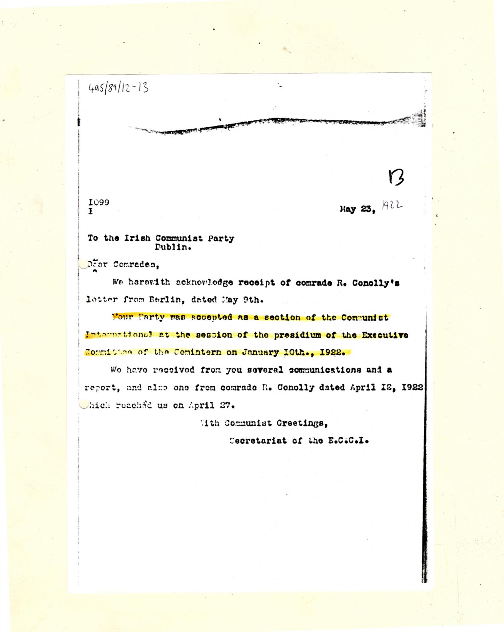 6d98334819b Letter accepting CPI to COMINTERN 23 5 1922 (MS57 2 2 495 89 12