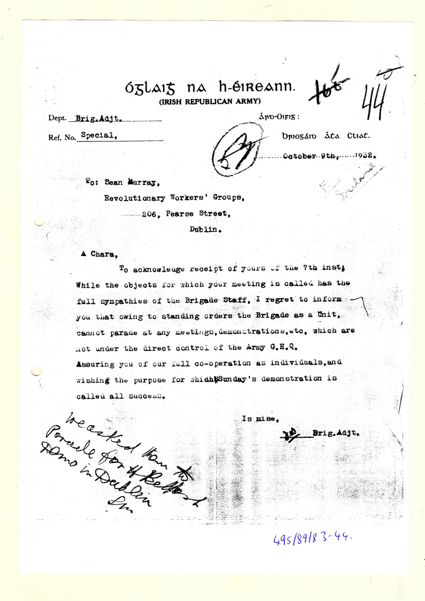 7560e75a531 Letter from the IRA to Sean Murray 9 10 1932 (MS57 4 1 495 89 83